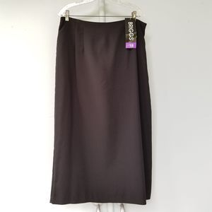 NWT Briggs Long Maxi Black Skirt Back Slit 18